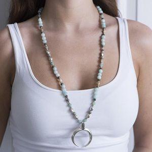 Aqua Handmade Crescent Moon Gemstone Bead Necklace